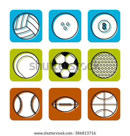 Sport balls on color background, flat icons, vector illustration for design