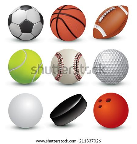 Sport balls on white background. Vector illustration - stock vector