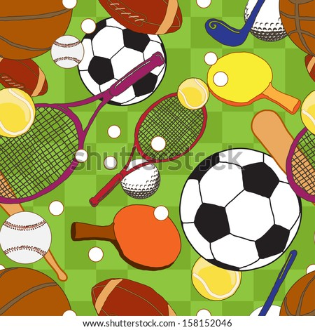 sport balls  pattern  - stock vector