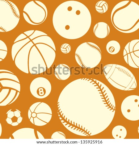 sport balls seamless pattern  - stock vector