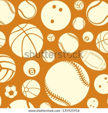 sport balls seamless pattern (vector silhouettes of sport balls, sport balls pattern abstract seamless texture, sport balls background) - stock vector