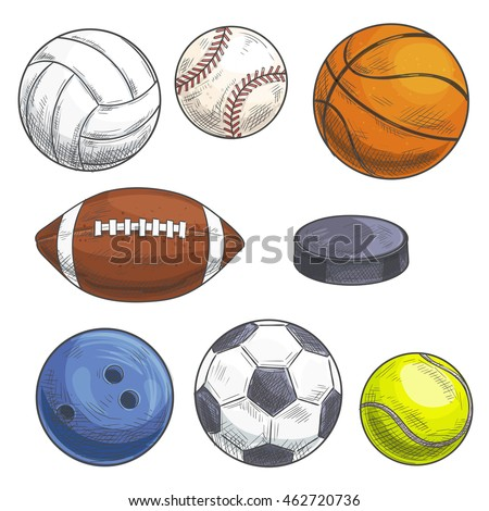 Sport balls set. Vector sketch icons of sports gaming accessories. Freehand drawings of balls for rugby, football, soccer, baseball, basketball, tennis, hockey puck, bowling, volleyball.