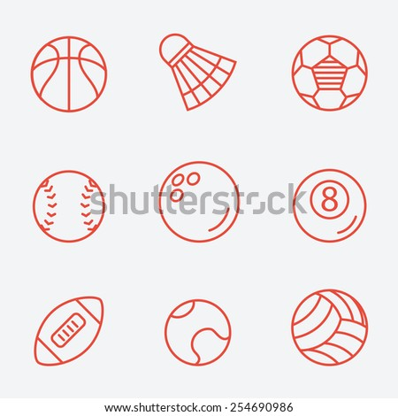 Sport balls, thin line icons, flat design - stock vector