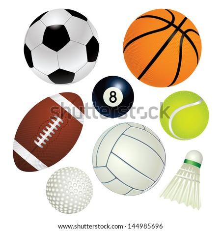 Sport balls vector set - stock vector