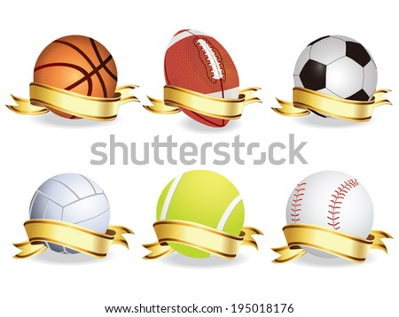 sport balls with banner vector - stock vector