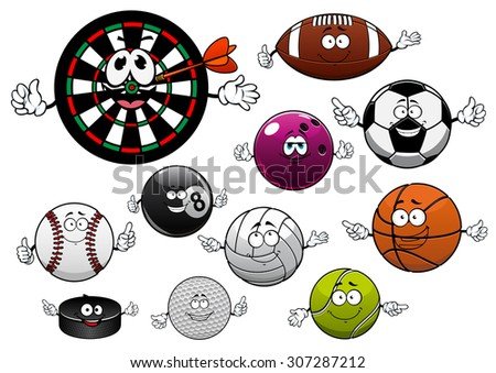 Sport balls with football or soccer, basketball, rugby, bowling, tennis, billiards, volleyball, golf, baseball, hockey puck and dartboard with arrow - stock vector