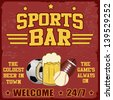 Sport bar vintage grunge poster, vector illustrator - stock vector
