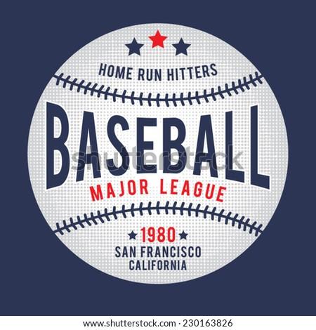 Sport baseball typography, t-shirt graphics, vectors - stock vector