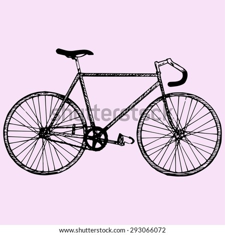 sport bicycle, race road bike, doodle style, sketch illustration - stock vector