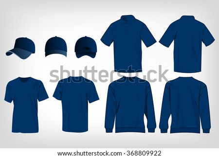 Sport blue t-shirt, sweater, polo shirt and baseball cap isolated set vector - stock vector
