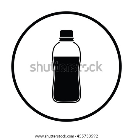 Sport bottle of drink icon. Thin circle design. Vector illustration. - stock vector