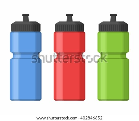 Sport bottles icon for water icon in flat style isolated on white background. Sipper vector - stock vector