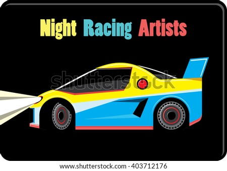 Sport car emblem on black background. Colorful race car with glowing headlights on a black background. Vector illustration - stock vector