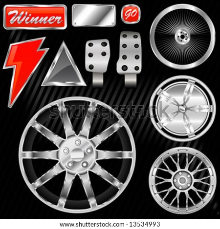 sport car equipments (rim, graphic, pedal) - stock vector