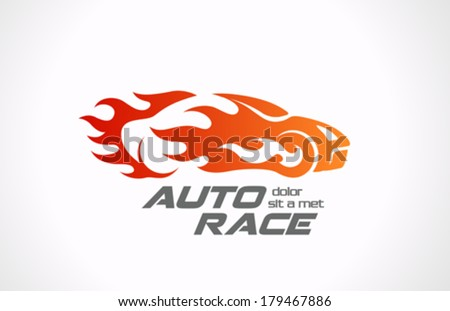 Sport Car Speed Race vector logo design template. Fire vehicle in motion. Auto rally in flame creative concept icon. - stock vector