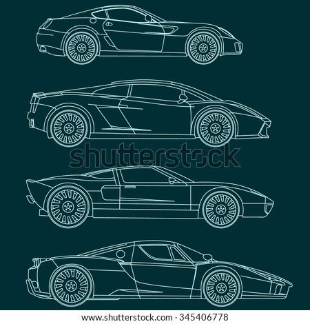 Sport cars line vector blueprint stock vector 345406778 shutterstock sport cars line vector blueprint malvernweather Choice Image