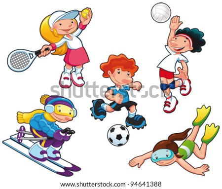 Sport characters. Cartoon vector isolated boys and girls. - stock vector