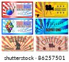 Sport, Cinema, Concert and Circus tickets - stock vector