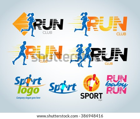 Sport club, running club vector labels and emblems, logotypes, badges. Apparel, t-shirt design concepts. Athletic silhouette training, athlete run illustration. Isolated vector illustration. - stock vector