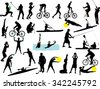 sport collection vector silhouette - stock vector