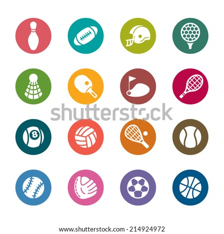 Sport Color Icons - stock vector