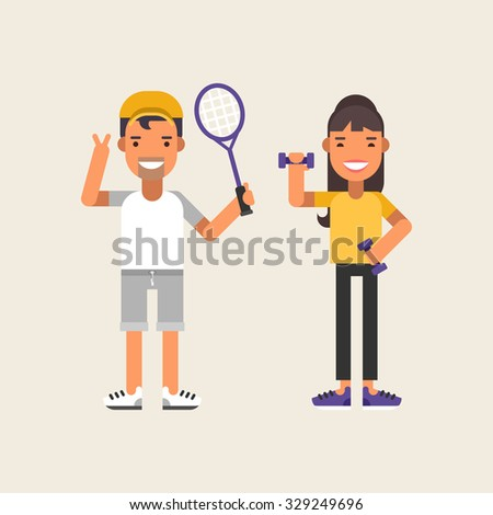 Sport Concept Elements for Infographics. Female and Male Character. Tennis and Fitness. Flat Style Vector Illustration - stock vector