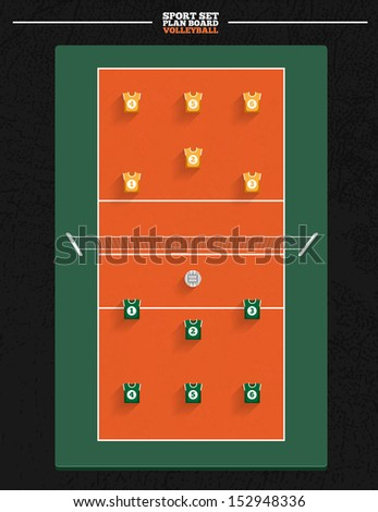 Sport court series | Volleyball Court with player position for planning strategy - stock vector