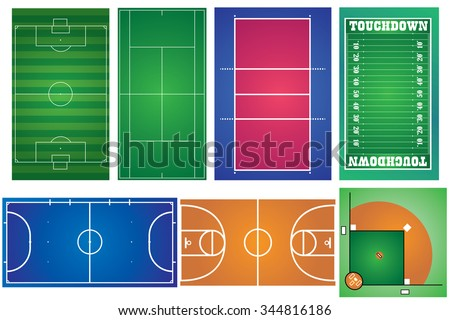 Sport courts and fields. Can be used for demonstration, education, strategic planning and other proposes. - stock vector