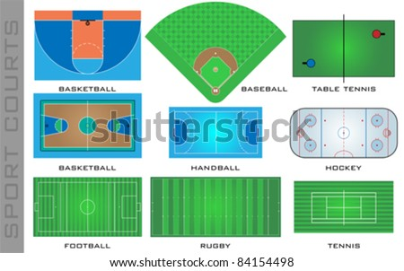 Sport courts, vector - stock vector