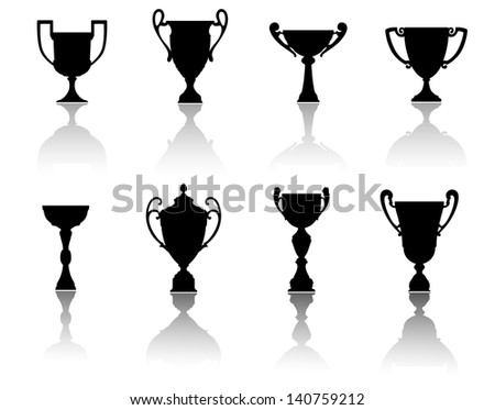 Sport cups and awards set for achievement or success concept design. Jpeg (bitmap) version also available in gallery - stock vector