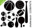 Sport equipment silhouettes vector - stock photo