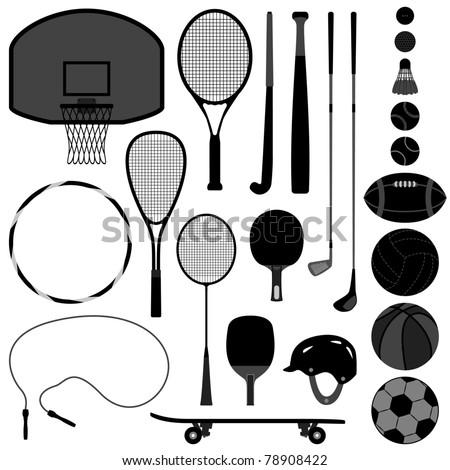 Sport Equipment Tool Basketball Tennis Badminton Football Soccer Rugby Hockey Baseball Volleyball Squash Golf Ball - stock vector