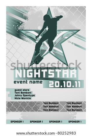 Sport Event Poster Skateboarding - stock vector