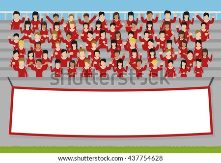 sports fans cheering clipart. sport fans of red team cheering in the stands. vector sports clipart t