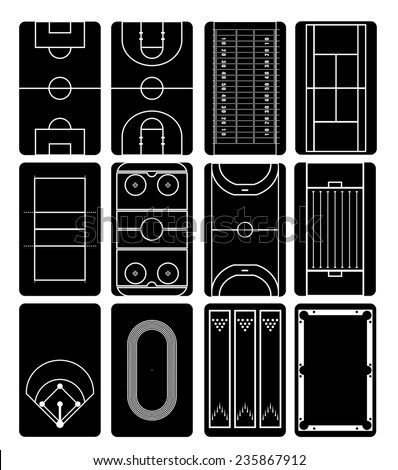 Sport field black and white - stock vector