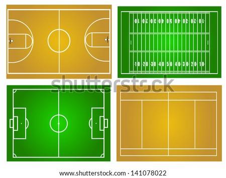 Sport fields - stock vector