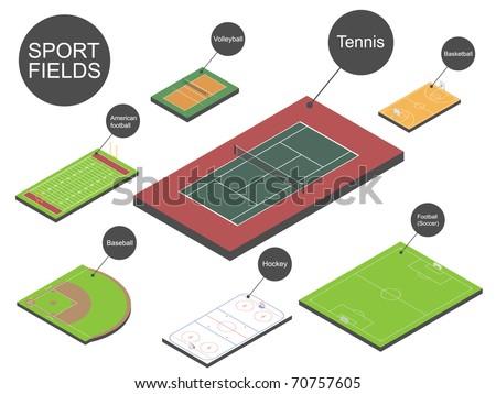 Sport fields. Vector illustration. - stock vector