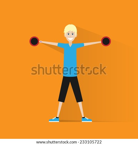 sport fitness man dumbbell exercise workout flat icon vector illustration - stock vector