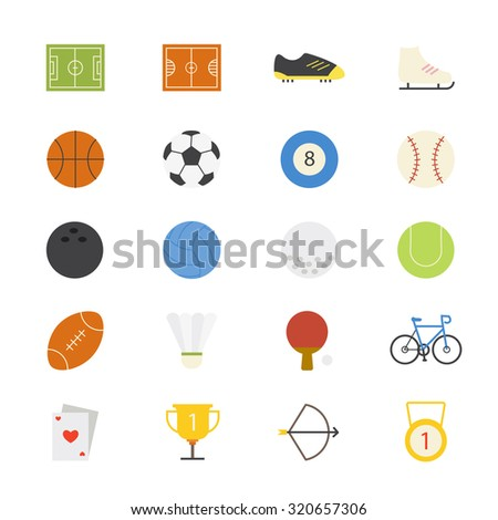 Sport Flat Icons color - stock vector