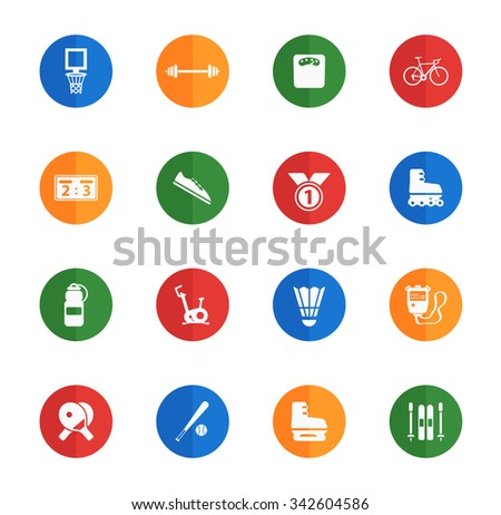 Sport flat icons for media