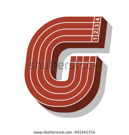 Sport font, letter G, running track, vector. - stock vector