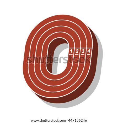 Sport font, letter O, running track, vector. - stock vector