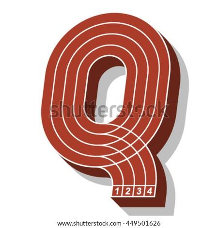 Sport font, letter Q, running track, vector. - stock vector
