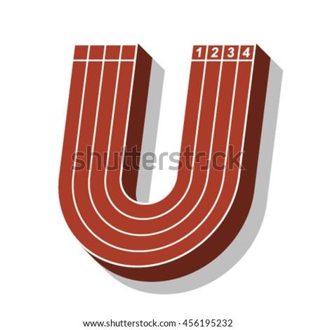 Sport font, letter U, running track, vector. - stock vector