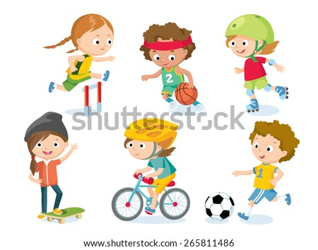 sport for kids including football, basketball, athletic, bicycle, skate rolling - stock vector