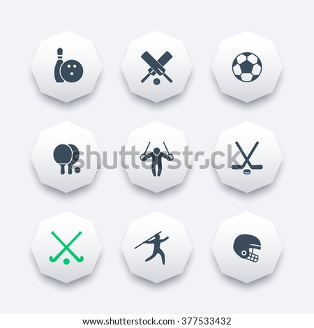 sport, games, competition octagon icons set, vector illustration - stock vector