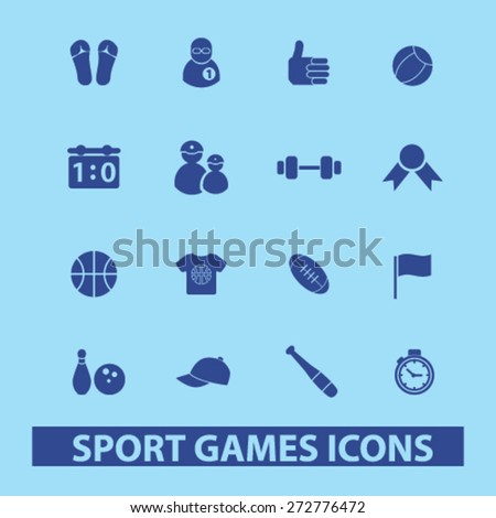 sport, games, fitness icons, signs, illustrations set, vector - stock vector