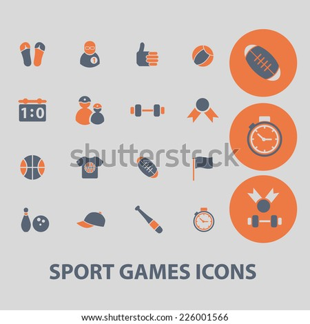 sport, games, fitness icons, signs, illustrations, vector, set - stock vector