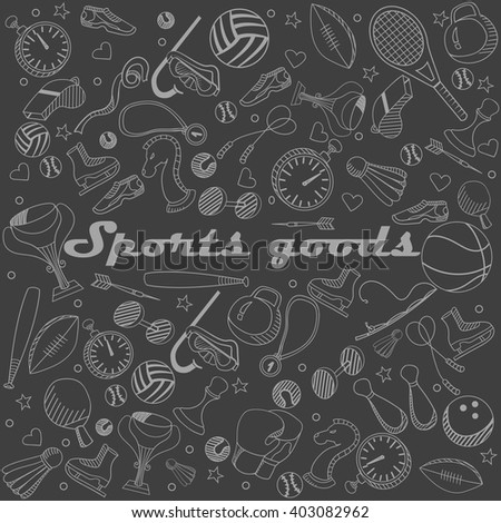Sport goods chalk line art design vector illustration. Separate objects. Hand drawn doodle design elements.