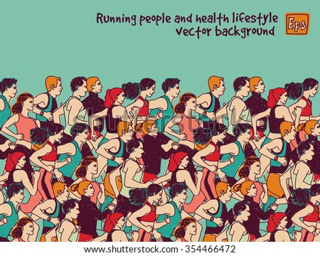 Sport group people run and sky color. Healthy marathon with group young people. Color vector illustration. EPS8 - stock vector